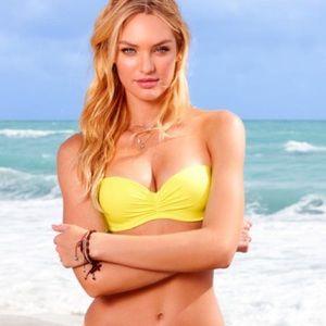 Victoria Secret Yellow Strapless Pushup Bikini Top